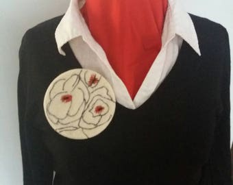 Felt Pendant - Black and red poppies