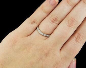 Platinum G-H VS Diamond Wedding Band Curved Vintage Matching Set Ring Art Deco 7704-PT