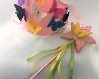 Butterfly Garden Children's Felt Crown and Wand Set