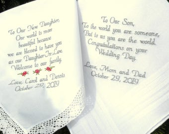 Special Wedding Day Memento's for you Son and New Daughter In-law Or New Son Embroidered Wedding Handkerchiefs By Canyon Embroidery on Etsy
