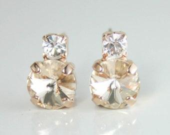 Swarovski light silk rivoli earring,petite crystal earrings,stud earrings,crystal stud earrings,small crystal earrings,champagne earrings
