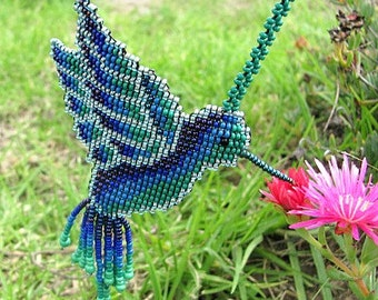 Seed Beaded Hummingbird. Spirit Animal. Native Beadwork. Art Jewelry. Hummingbird Necklace.