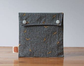 Reasy-to-ship! Reusable sandwich bag, reusable snack bag, fabric bag, Autumn foxes print [#218], eco friendly, no waste lunch box, washable