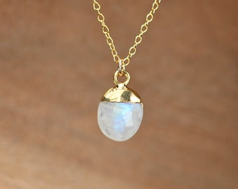 Moonstone necklace - june birthstone necklace - drop crystal necklace - rainbow crystal necklace - blue flash