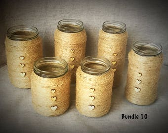 6 * hand crafted twine wrapped jars - weddings/flowers
