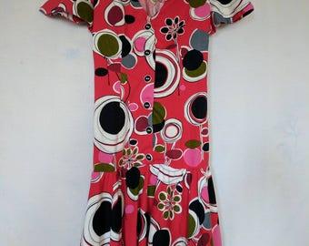 Vintage 1960s Abstract Print Dress