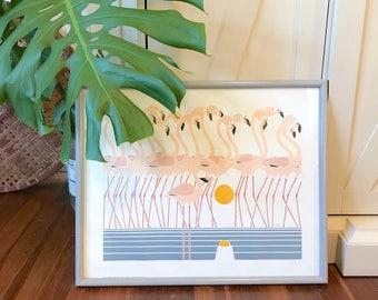 Ikki Matsumoto Flamingold Flamingo Parade sunset Print serigraph / Coastal Decor