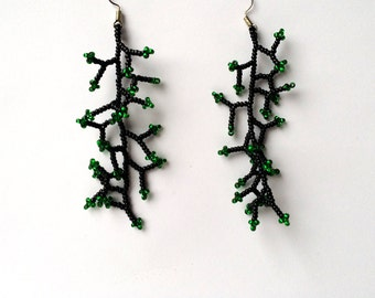 Long  Earrings. Black Green  Earrings.  Gift For Women.  Dangle  Earrings.  Beadwork.
