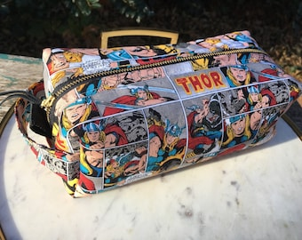 Toiletry Bag - Thor Comics- Pencil and Electronics case- Marvel - Avengers- Thor Ragnarok - Retro Comics - Mjolnir- Graduation Gift