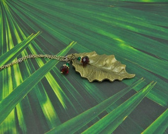 Holly Necklace, Holly Leaf Necklace,  Holly Berry Earrings, Holly Leaf, Holly Berries, Holly Necklace Set, Holly Leaf,  Holiday Necklace