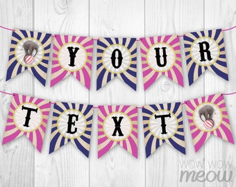Vintage Circus Carnival Party Banner INSTANT DOWNLOAD Pink Navy Stripe Flags Bunting Birthday Baby Shower Personalize Printable EDIT & Print
