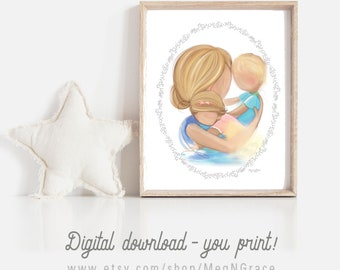 INSTANT DOWNLOAD Set of 2 Art Printables Blonde Mother, Son, and Daughter Wall Art Picture for Nursery Boy Girl Room Decor, Mother's Day