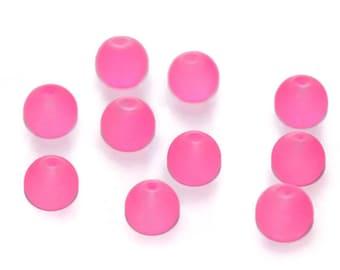 fuchsia glass 10mm 10 beads
