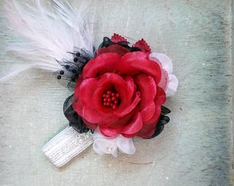 Great Gatsby corsage, Black and red corsage, corsage, feather corsage, white feather corsage, Great Gatsby red corsage