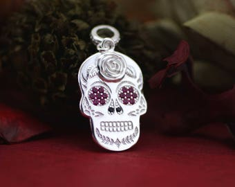 Sterling Silver Sugar Skull Necklace, Solid Silver Skull Necklace, Skull Necklace, Sugar Skull Jewelry, Day of the Dead, Halloween