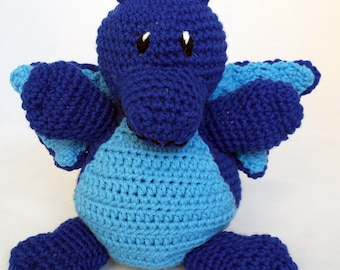 Dragon Stuffed Animal - Royal Blue with Light Blue Accents - Crochet Plush - Machine Washable - Baby Gift - Unisex