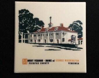"""Vintage American Olean Tile Co. """"Mt Vernon, Home of George Washington"""" Porcelain Tile Trivet"""