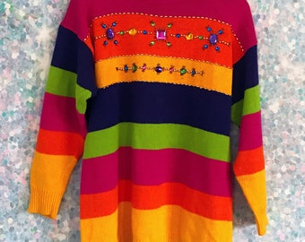 Vintage 90s Rainbow Sweater