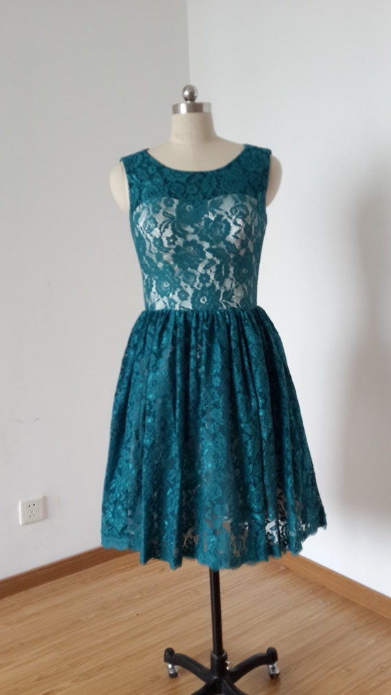 Teal Lace Bridesmaid Dresses