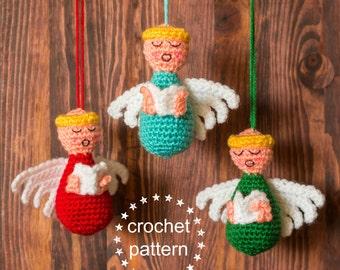 Choir of Angels Crochet Pattern, Crochet Christmas Ornaments, Crochet Angel Ornament, Amigurumi Crochet Pattern, DIY Christmas Crafts