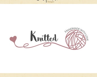 Premade Logo & Watermark // Yarn logo // Knit logo // Wool Logo // Blog // Knitter logo design  // Solipandi Design Studio//#029
