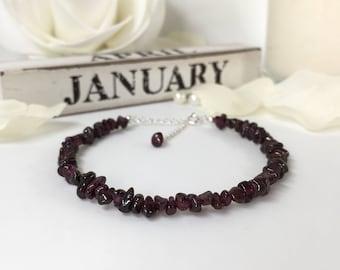 Garnet Bracelet, January Birthstone, Sterling Silver, Gift for Her, Gift for Women, Gift for Him, Raw Garnet, Red, Christmas Gift, Mom Gift