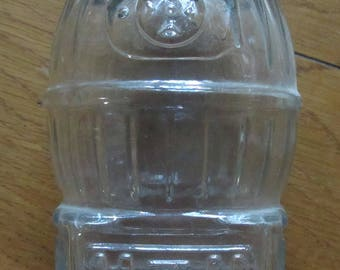 Vintage Pot Belly Stove-Shaped Clear Glass Bank with Slotted Metal Lid, Candy Container