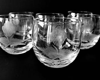 2 Cut Glass Whiskey Glasses Roly Poly Old Fashioneds Rocks Glasses