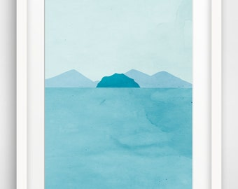 Coastal Decor Teal Art Print, Large Wall Art, Beach Decor, Bathroom Art, Large Print, Oversized Wall Art