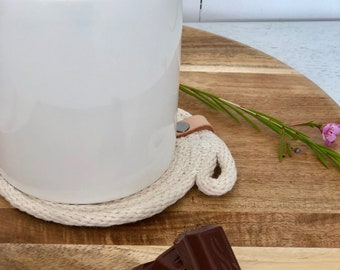Cotton stitched rope coasters - 3 Finishes