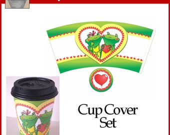 Frog Love Valentine Cup Cover
