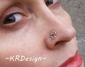 Sterling Silver-14K Gold-Flower-Nose Stud-Tragus-Earrings-Customized / Free US Shipping
