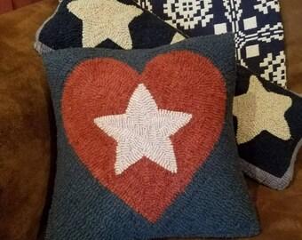 Star in heart pillow rug hooking pattern