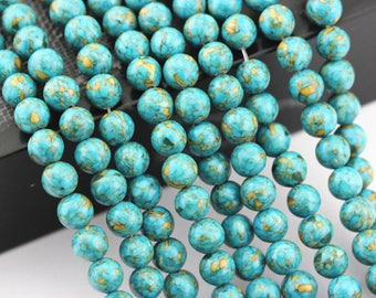 Smooth Magnesite Turquoise Round Loose Beads Size 6mm Approxi 15.5'' Long. R-S-TUR-0479