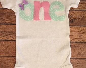 Pink, Mint Green, and Lavender Birthday Shirt or Baby Bodysuit