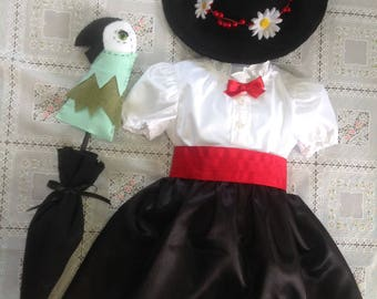 Mary Poppins inspired! Costume comes with dress, hat and parrothead umbrella prop! Complete outfit!