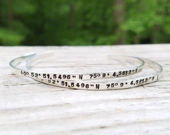 Custom Sterling Silver Bracelet, Custom Silver Stacking Cuff, Handstamped Bracelet