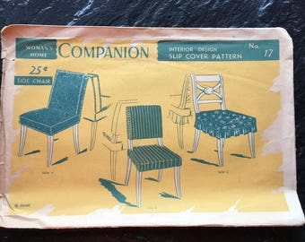 Vintage 1940s 1950s Slip Cover Interior Design Pattern // Woman's Home Companion No. 17 > Unused > chair, side chair, cushion, seat, back