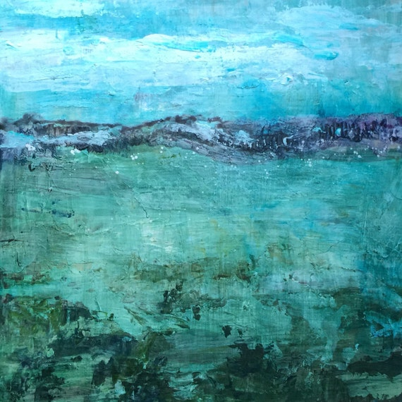Abstract Oil painting print by the sea