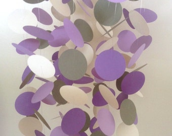 Purple and Gray Mobile, Customizable Paper Circles Mobile, Nursery Mobile, Purple Nursery Mobile