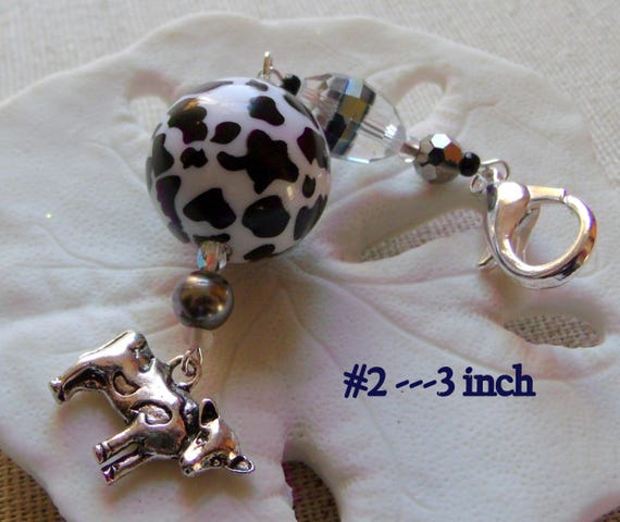Silver tone cow  zipper pulls, journal-planner-purse charms, black/crystal/crackle bead, cottage chic, farm land, barn animal, Lizporiginals