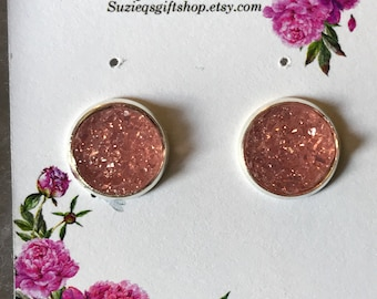 Pink Druzy Earrings