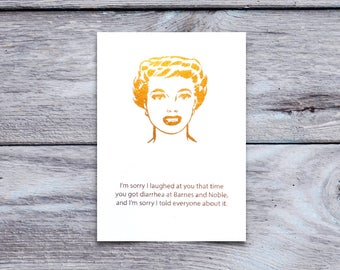 Mean Girls Gold Foil Card, Friendship, I'm Sorry, Potty Humor, Adult Greeting Card, Handmade Greeting, Sassy Greeting, Funny Greeting Card