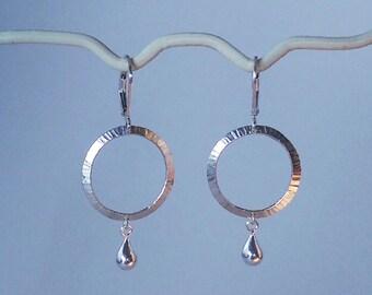 Textured hoop earrings with teardrop