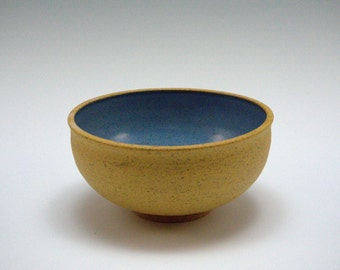 Footed Bowl with Soft Blue Interior Glaze