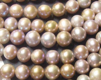 16 Inch Strand, 9-10mm, Natural color, Mauve Pink Bronze Nucleated Bead Fresh Water Pearl, P1