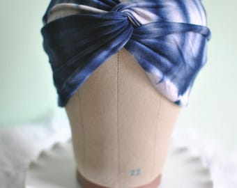 Blue and White Tie Dye Turban Twisted Knot Headband