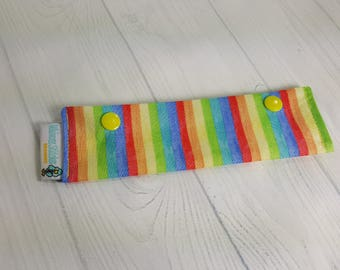 "Narrow Pastel Rainbow Stripes, Short Needle Cozy DPN Holder, project holder 7""x2""- (Hold up to 6"" Needles) NCS0045"