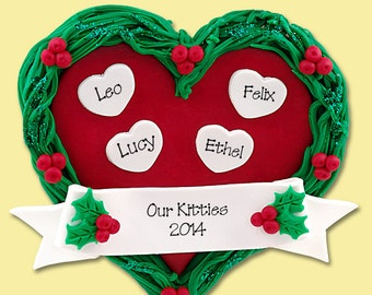 Heart Family of 4  Grandparents HANDMADE POLYMER CLAY Personalized Christmas Ornament