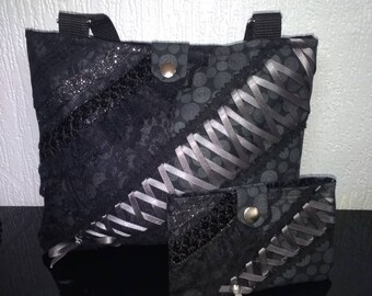 Gothic corset bag with matching pouch